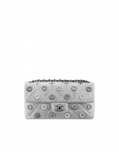 Chanel Silver Perforated CC Medals Flap Mini Bag - Cruise 2015