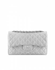 Chanel Silver Perforated Jumbo Classic Flap Bag - Cruise 2015