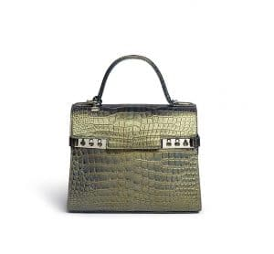 Delvaux Metallic Green Crocodile Tempete MM Bag
