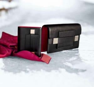 Delvaux Noir/Berry Madame Portefeuille Compact and Madame Pochette Bags - Fall 2014