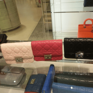 Dior Beige/Pink/Black Miss Dior Mini Pouch Bags