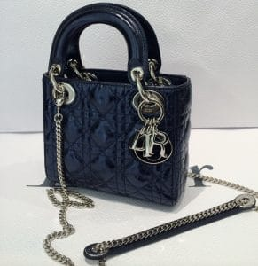 Dior Black Patent Lady Dior with Chain Mini Bag