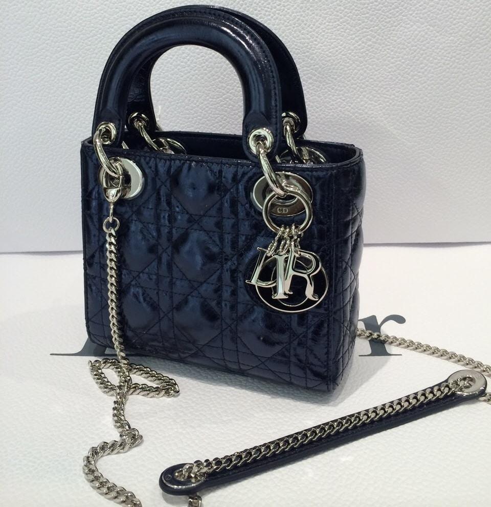30e4d10530cf Dior Black Patent Lady Dior with Chain Mini Bag