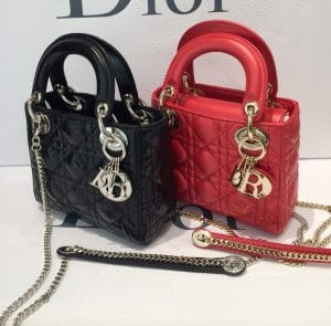 Dior Black/Red Lady Dior with Chain Mini Bags