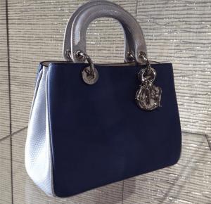 Dior Blue/Grey Karung/Calfskin Diorissimo Bag - Cruise 2015