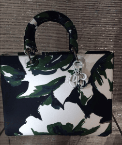 Dior Green/Black/White Floral Abstract Lady Dior Bag - Cruise 2015