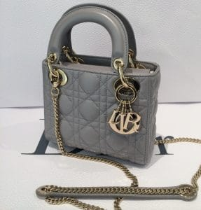 Dior Grey Lady Dior with Chain Mini Bag