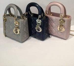 Dior Grey/Black/Pink Lady Dior with Chain Mini Bags