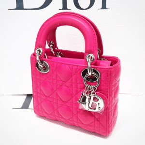 Dior Hot Pink Lady Dior Mini Bag with Chain