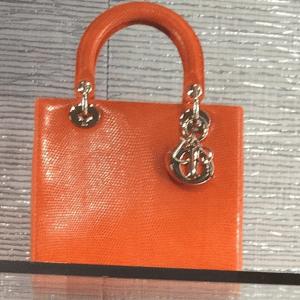 Dior Orange Lizard Lady Dior Small Bag - Cruise 2015
