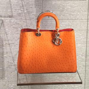 Dior Orange Ostrich Diorissimo Bag - Cruise 2015
