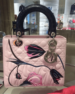 Dior Pink Floral Printed/Cannage Lady Dior Bag - Cruise 2015