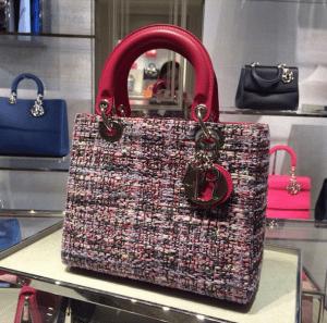 Dior Pink Multicolor Tweed Lady Dior Bag - Cruise 2015