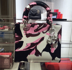 Dior Pink/Black/White Floral Abstract Lady Dior Bag - Cruise 2015