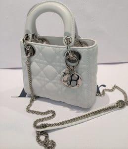Dior Pure White Lady Dior with Chain Mini Bag