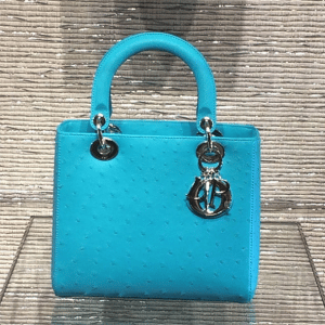 Dior Turquoise Ostrich Lady Dior Small Bag - Cruise 2015