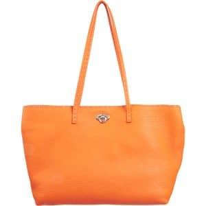 Fendi Orange Selleria Turn Lock Tote Small Bag