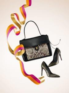 Louis Vuitton Black/Python Lockme Bag / Midnight Sun Shoes