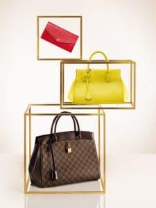 Louis Vuitton Coquelicot Sarah Wallet / Pistache Marly BB : Damier Ebene Rivoli Bag