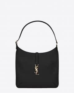 Saint Laurent Black Monogram Hobo Medium Bag - Cruise 2015