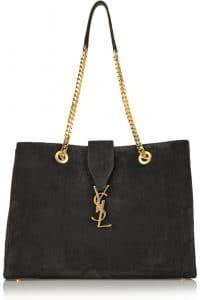 Saint Laurent Black Suede Classic Monogram Shopping Tote Bag