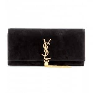 Saint Laurent Black Suede Classic Monogramme Clutch Bag