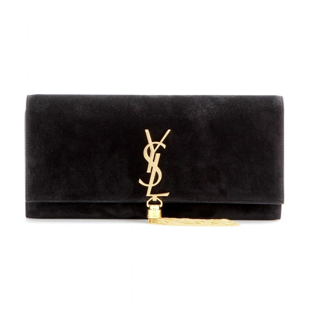 Saint Lau Black Suede Classic Monogramme Clutch Bag