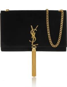 Saint Laurent Black Suede Classic Monogramme Tassel Clutch Bag