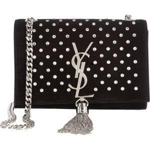 Saint Laurent Black Suede Crystal Embellished Classic Monogramme Tassel Bag