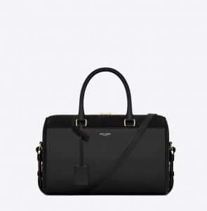 Saint Laurent Black Suede:Leather Classic Duffle 6 Bag