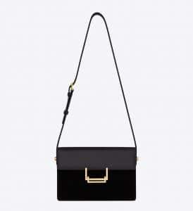 Saint Laurent Black Suede/Leather Lulu Medium Bag