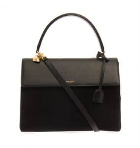 Saint Laurent Black Suede:Leather Moujik Bag