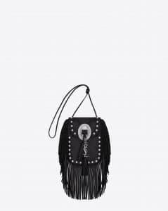 Saint Laurent Black with Oxidized Nickel Studs Anita Tasseled Flat Bag - Cruise 2015