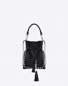 Saint Laurent Black with Oxidized Nickel Studs Monogram Flat Bucket Small Bag - Cruise 2015