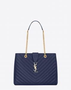 Saint Laurent Blue Matelasse Classic Monogram Shopping Bag - Cruise 2015