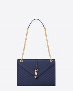 Saint Laurent Blue Textured Matelasse Classic Monogram Satchel Large Bag - Cruise 2015