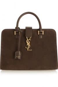 Saint Laurent Brown Suede Monogramme Cabas Bag