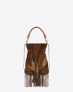 Saint Laurent Brown/Light Ochre Patchwork Suede Monogram Fringed Flat Bucket Small Bag - Cruise 2015