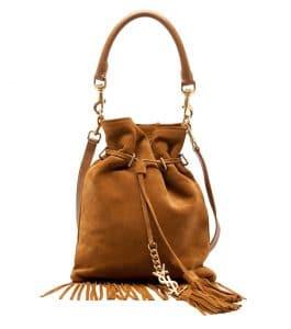 Saint Laurent Camel Suede Fringe Monogramme Bucket Bag