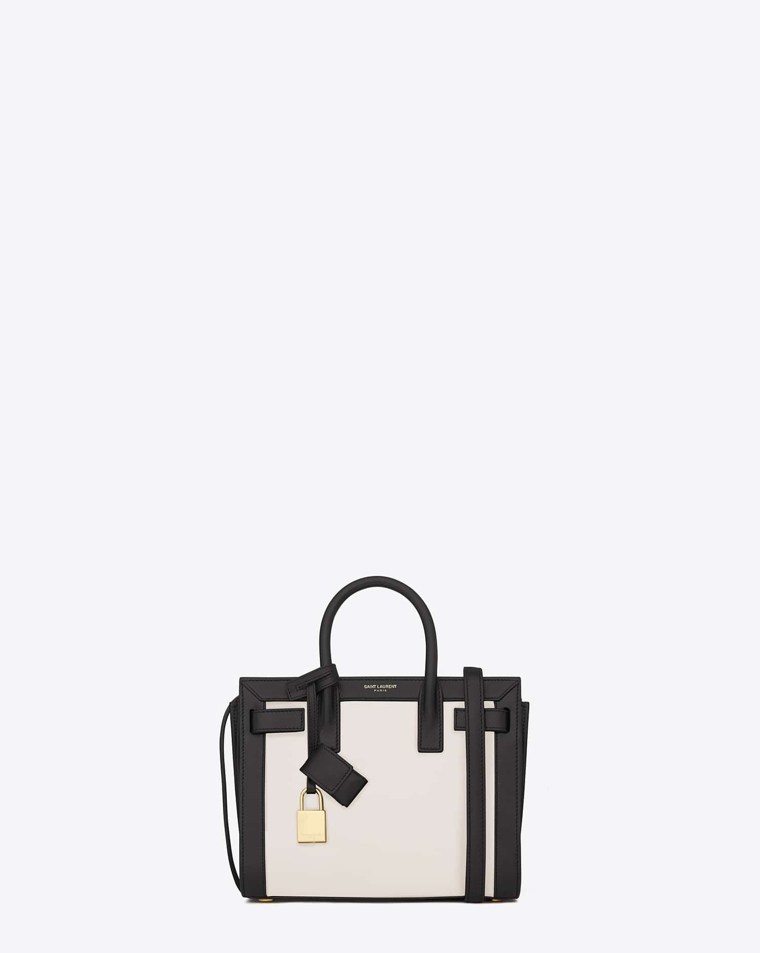 9b3c7f2e9ecc4 Saint Laurent Dove White Black Classic Nano Sac De Jour Bag - Cruise 2015