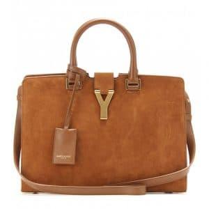Saint Laurent Havane Suede Cabas Y Small Bag