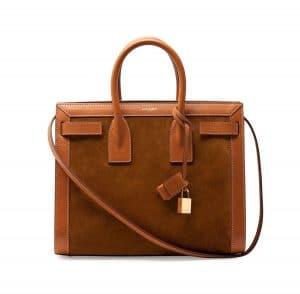 Saint Laurent Light Cognac Suede/Leather Sac De Jour Bag