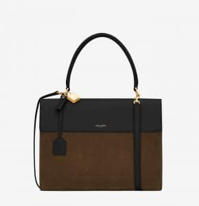 Saint Laurent Moss/Black Suede/Leather Bag