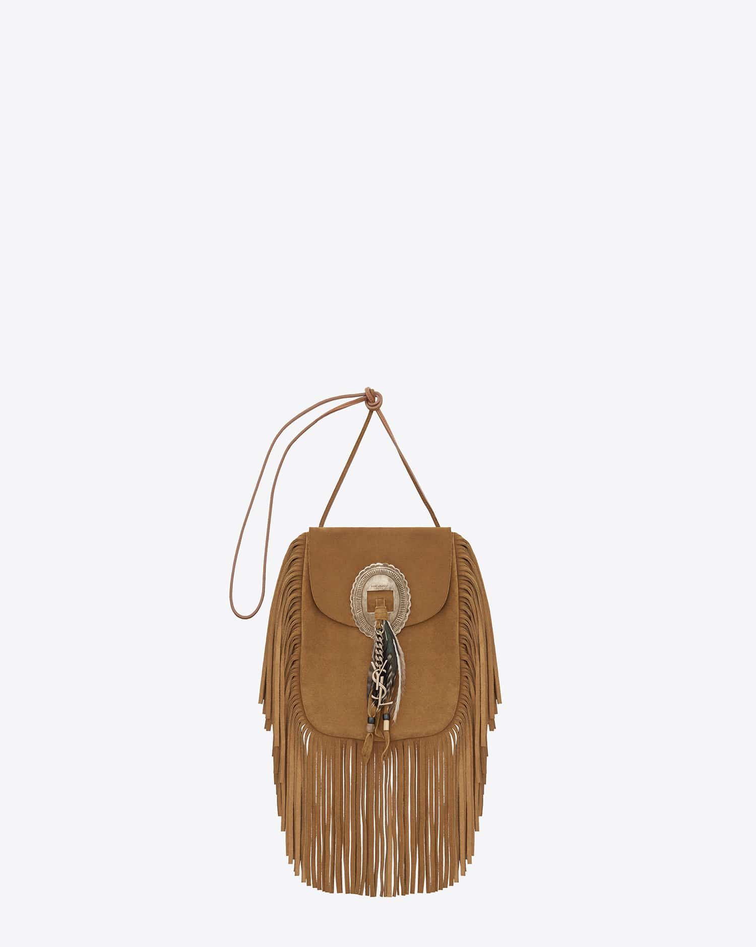 Saint Laurent Ocher Anita Fringed Flat Bag - Cruise 2015 69bb1bcdb2c13
