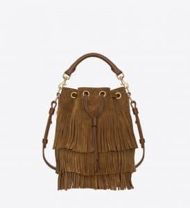 Saint Laurent Ocher Suede/Leather Fringed Emmanuelle Bucket Bag
