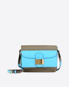 Valentino Azure/Khaki Rivet Colorblock Shoulder Bag