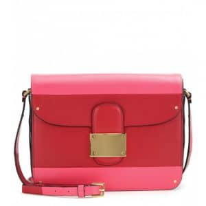 Valentino Pink/Red Rivet Colorblock Shoulder Bag