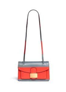Valentino Red/Grey Rivet Colorblock Double Handle Shoulder Bag