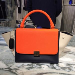 Celine Orange/Black/Beige Trapeze Bag 2 - Cruise 2015