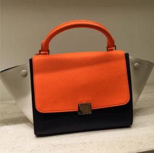 Celine Orange/Black/Beige Trapeze Bag - Cruise 2015